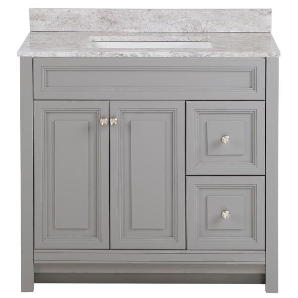 Brinkhill 37 in. W x 22 in. D Bath Vanity in Sterling Gray with Stone Effect Vanity Top in Winter Mist with White Sink