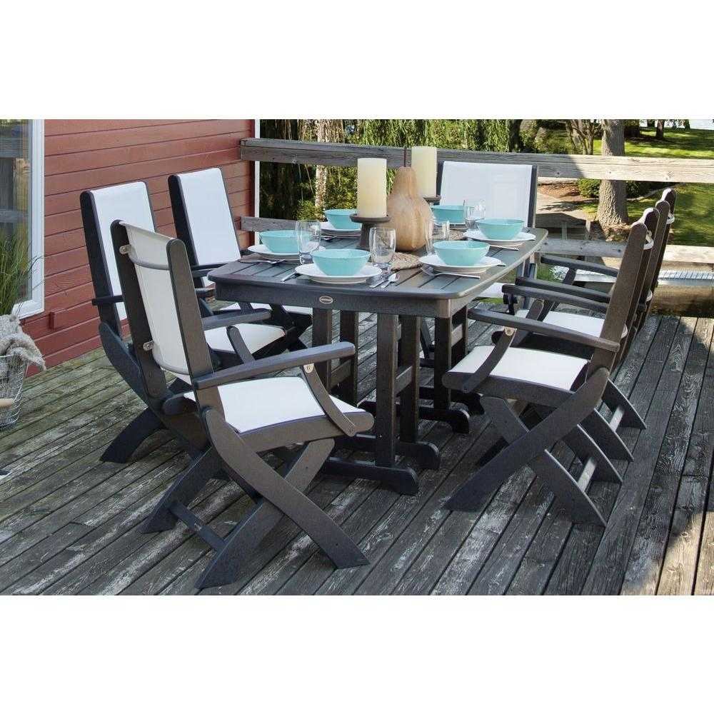 Polywood Coastal Black All Weather Plastic Dining Set In White Slings