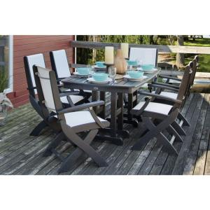 Coastal Black All Weather Plastic Dining Set In White Slings