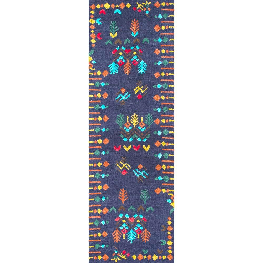 Gabbeh Tribal Jannet Navy 2 ft. 6 in. x 10 ft. Runner Rug