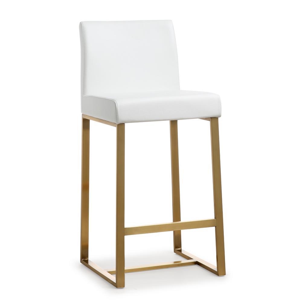 Denmark white gold steel counter stool set of 2