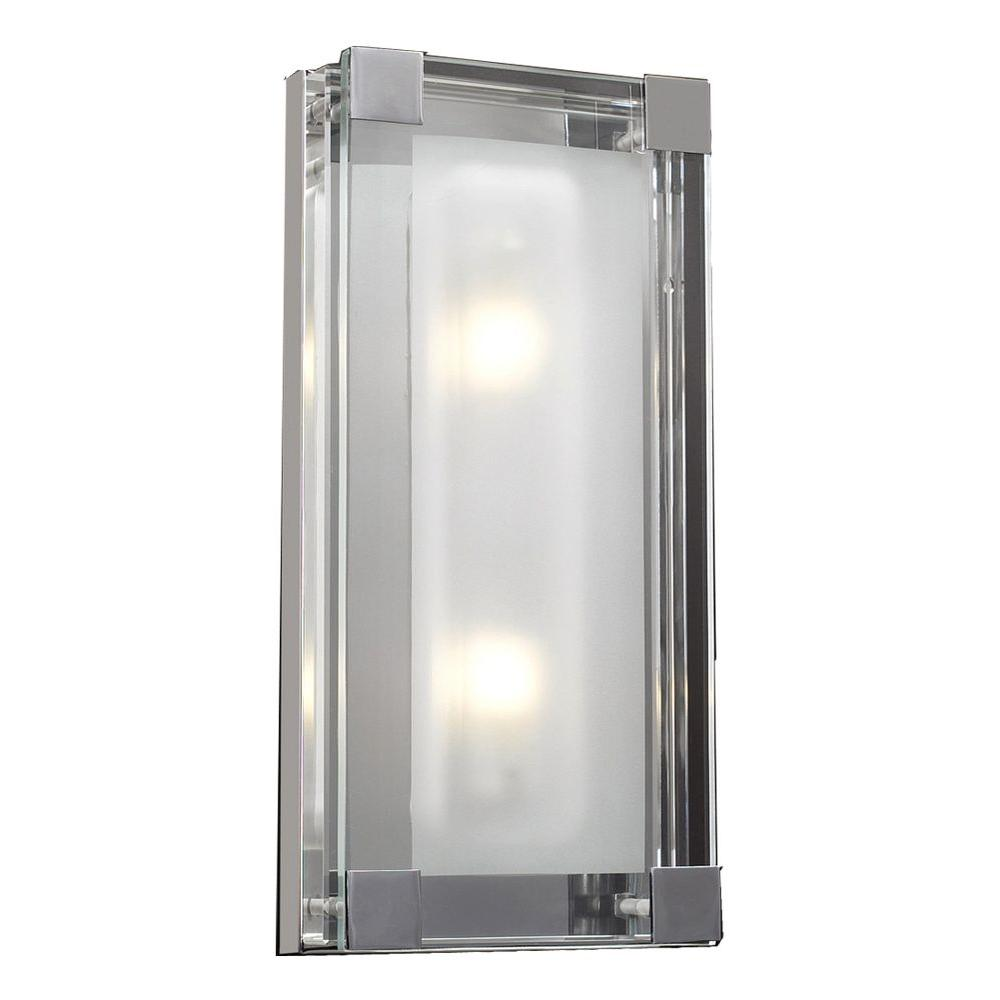 2-Light Polished Chrome Sconce with Clear Glass