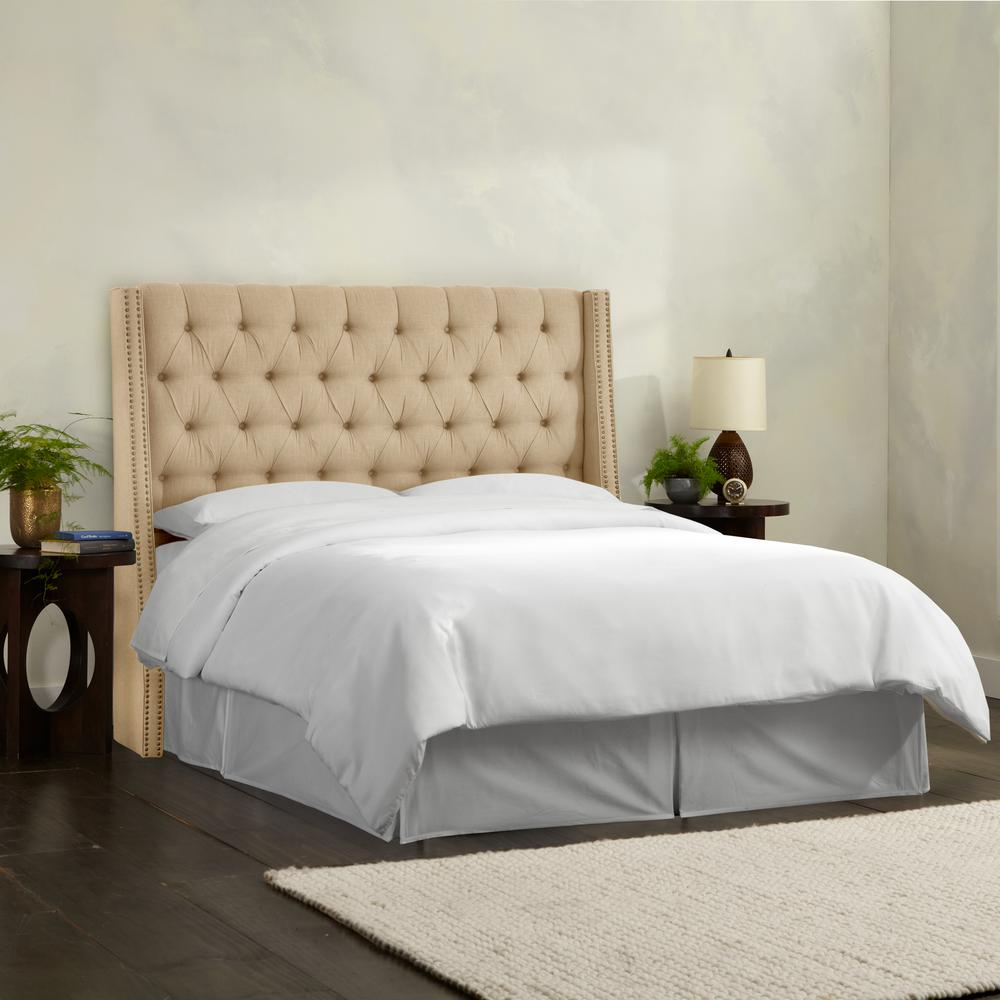 Linen Sandstone Full Nail Button Tufted Wingback Headboard ...