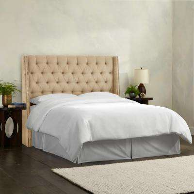 Linen Sandstone King Nail On Tufted Wingback Headboard