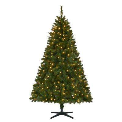 6.5 ft Wesley Long Needle Pine LED Pre-Lit Artificial Christmas Tree with 300 SureBright Color Changing Lights