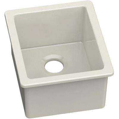 Undermount Fireclay 16 in. Bar Sink in Biscuit