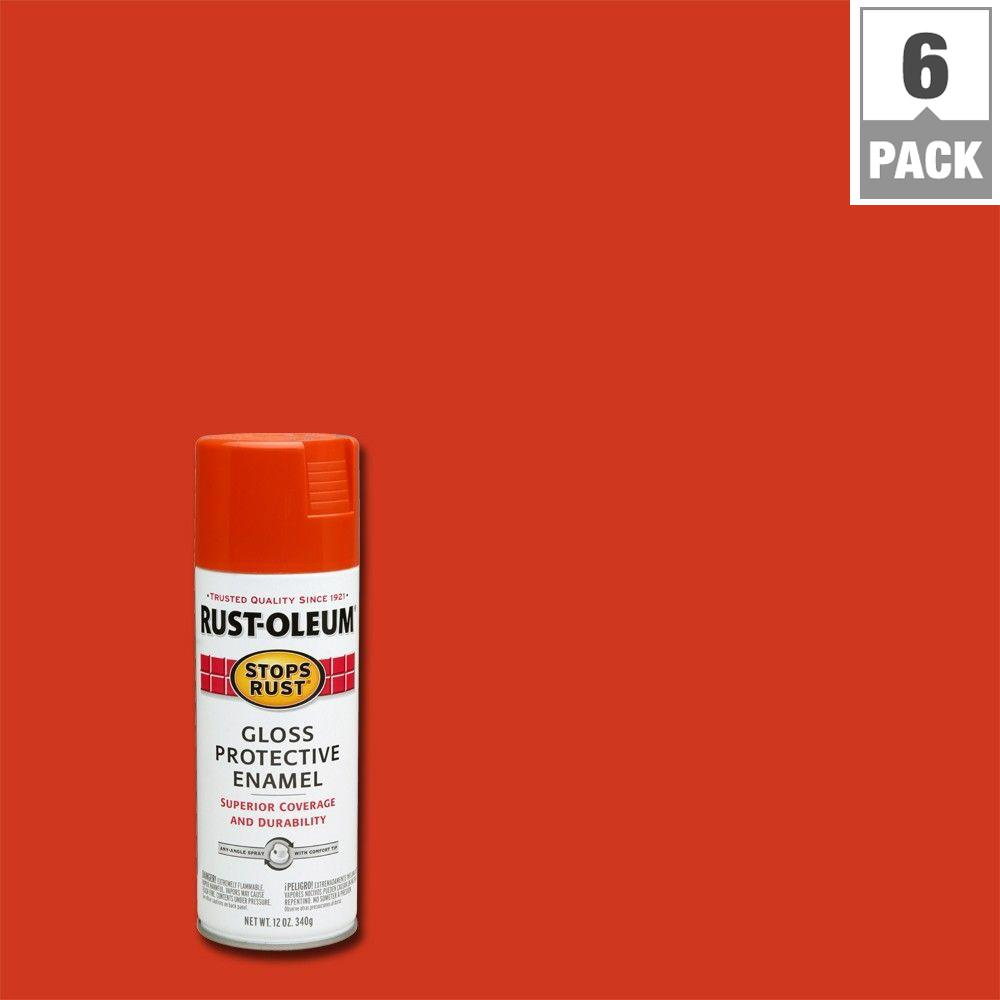 12 oz. Gloss Lobster Red Protective Enamel Spray Paint (6-Pack)