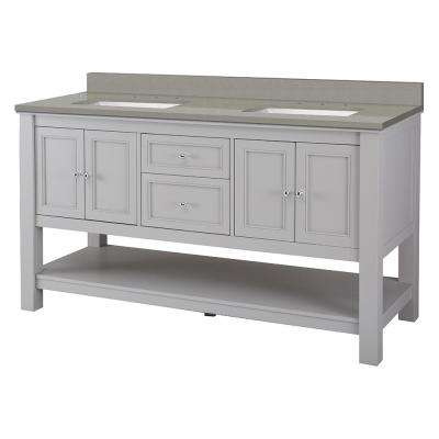 Gazette 61 in. W x 22 in. D Bath Vanity in Grey with Engineered Quartz Vanity Top in Sterling Grey with White Basin