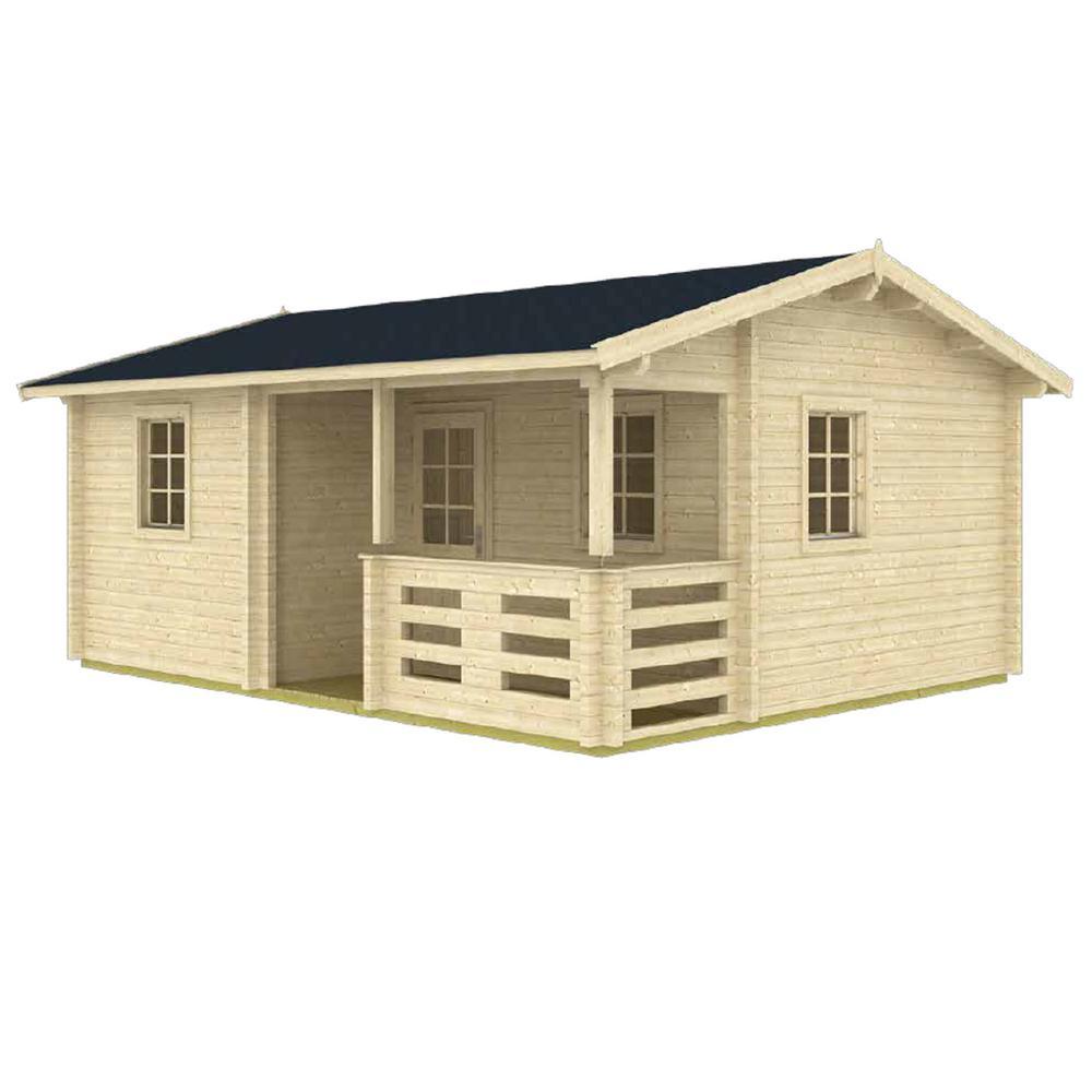 Anorev 15 ft. x 19 ft. Multi-Room 285 sq. ft. Milled Log DIY Building Kit