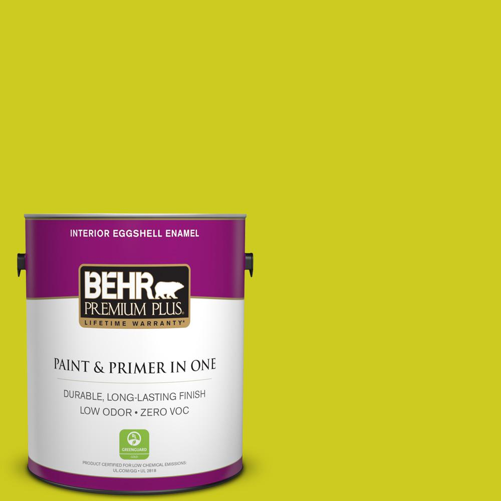 BEHR Premium Plus 1-gal. #S-G-400 Lime Pop Zero VOC Eggshell Enamel Interior Paint