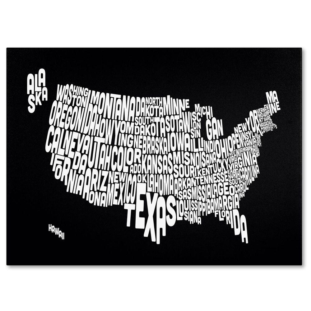 null 14 in. x 19 in. USA States Text Map - Black Canvas Art