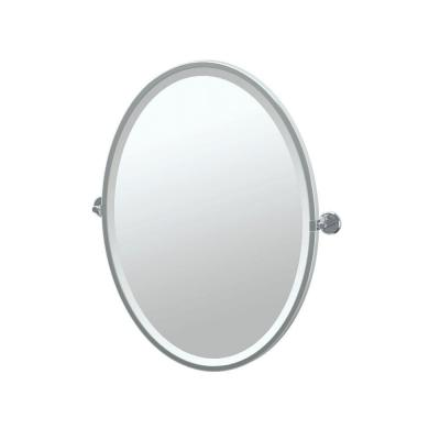 Latitude 21 in. W x 28 in. H Framed Oval Beveled Edge Bathroom Vanity Mirror in Chrome