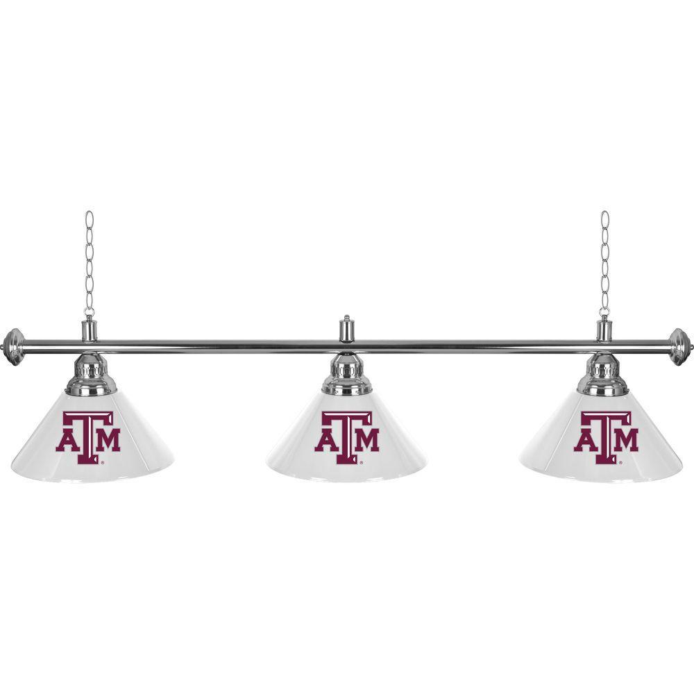 Trademark Global Texas A&M University 60 in. Three Shade Gold Hanging Billiard Lamp