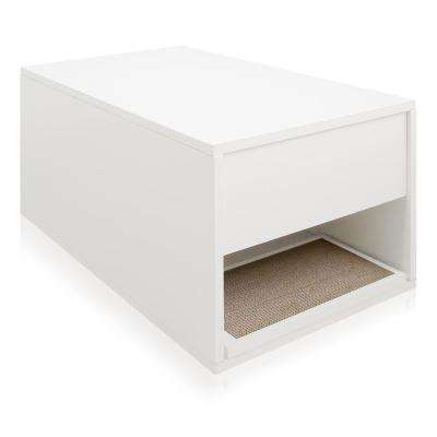 Eco zBoard White Modern Cat Litter Box Enclosure and Side Table