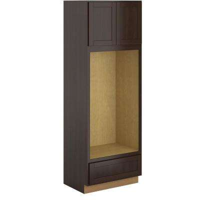 Princeton Assembled 33x96x24 in. Pantry/Utility Double Oven Cabinet in Java