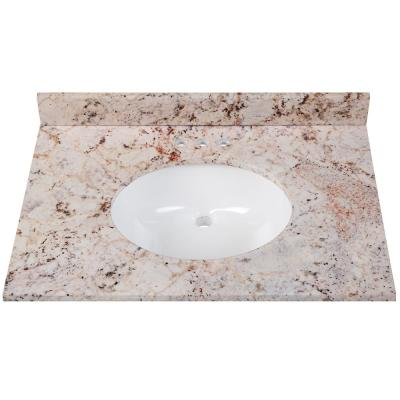 31 in. W x 22 in. D Stone Effects Vanity Top in Rustic Gold with White Sink