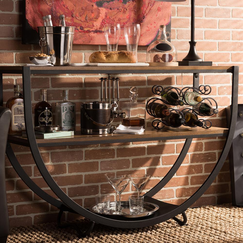 Baxton Studio Blakes Vintage Industrial Medium Brown Wood Console Table by Baxton Studio