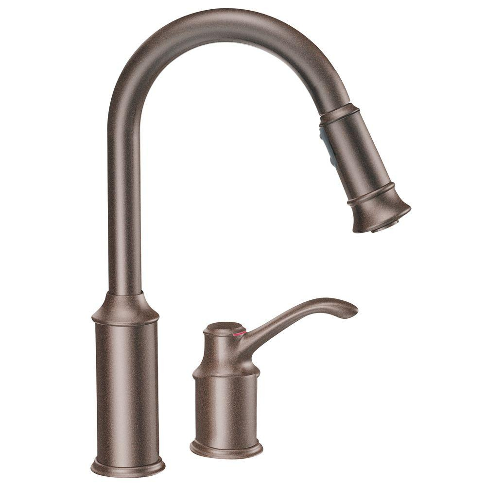 Moen Aberdeen Single Handle Pull Down Sprayer Kitchen Faucet With Reflex In Oil Rubbed Bronze 7590orb The Home Depot