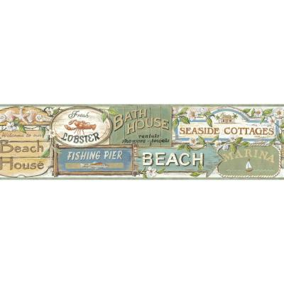 Captain Seaside Signs Portrait Wallpaper Border