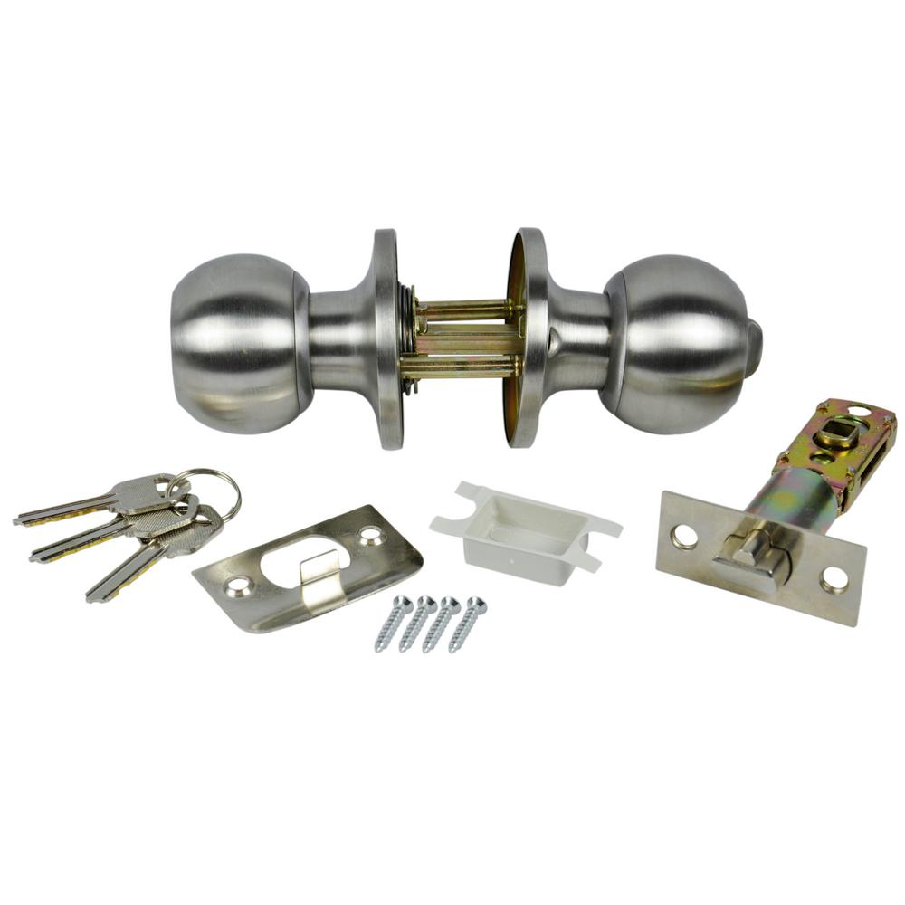 DANCO Entrance Keyed Door Knob Lock Set for Mobile Homes in Brushed Nickel