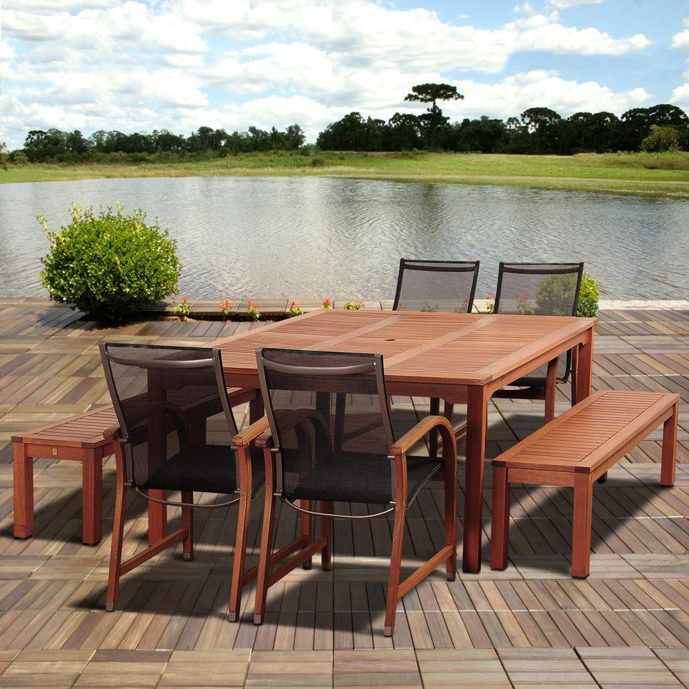 Amazonia Ellis 7 Piece Eucalyptus Square Patio Dining Set
