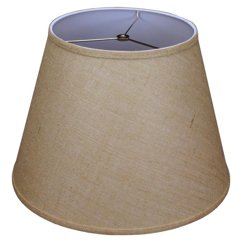 11 in. Top Diameter x 18 in. Bottom Diameter x 13 in. Slant Burlap Natural Empire Lamp Shade