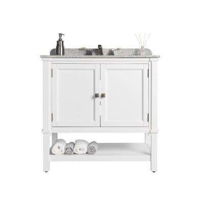 Ashlyn Single 36 in. D x 22 in. W Bath Vanity in White with Granite Vanity Top in White with Black Nickel Basin