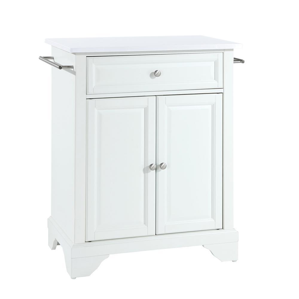 Lafayette White Portable Kitchen Island/Cart with Granite Top