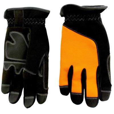 Orange Synthetic Leather Palm with Spandex Back