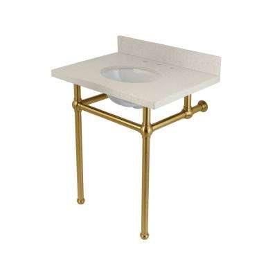 Washstand 30 in. Console Table in White Quartz with Metal Legs in Satin Brass