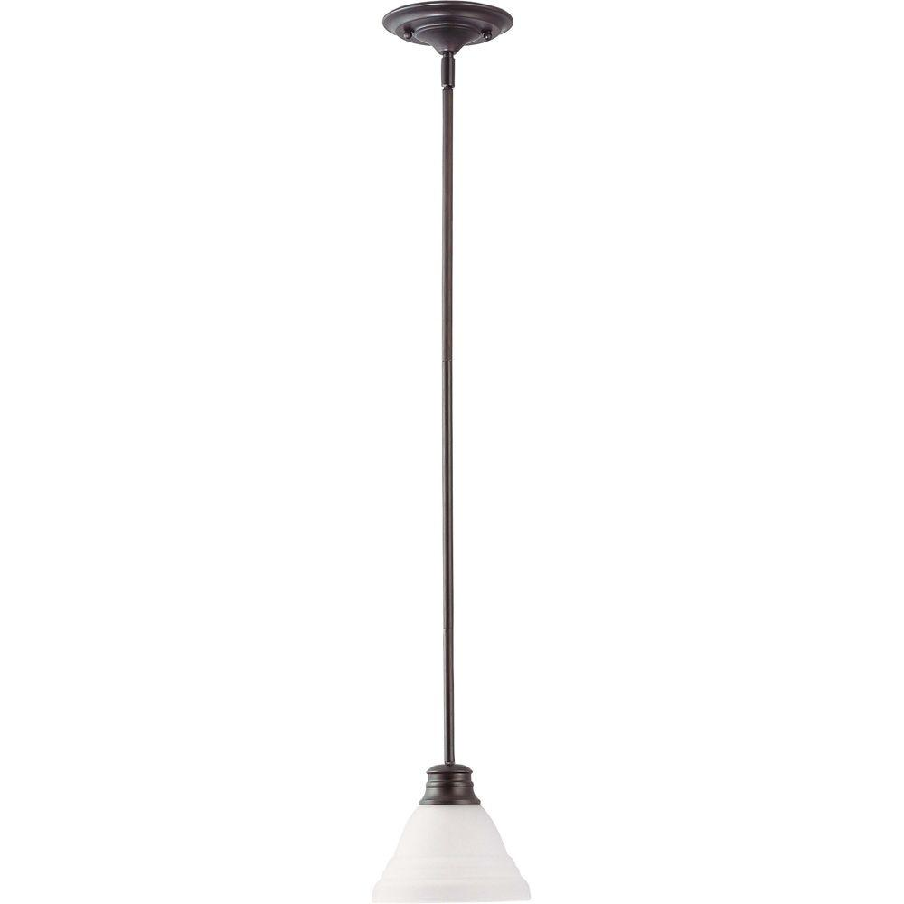 1-Light Mahogany Bronze Mini Pendant with Frosted White Glass