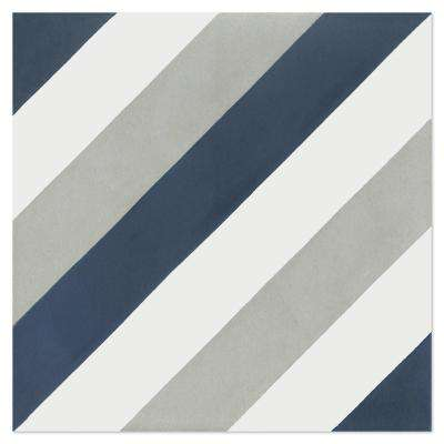Diagonal Eight Navy 7-7/8 in. x 7-7/8 in. Cement Handmade Floor and Wall Tile