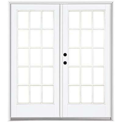 72 in. x 80 in. Fiberglass Smooth White Right-Hand Inswing Hinged Patio Door with 15-Lite SDL