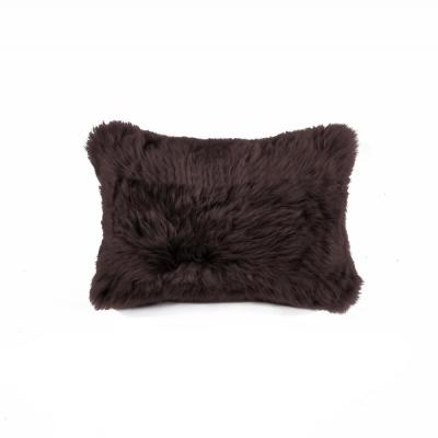 New Zealand Sheepskin Chocolate Solid 12 in. x 20 in. Throw Pillow