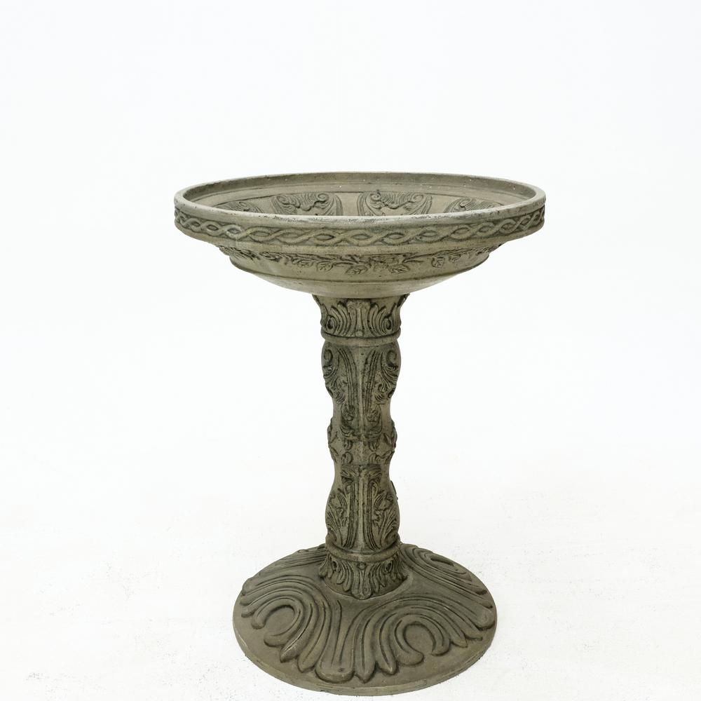 26.5 in. H Cast Stone Rose Birdbath in an Aged Granite