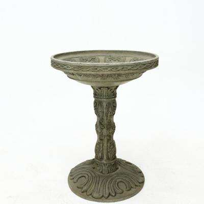 26.5 in. H Cast Stone Rose Birdbath in an Aged Granite Finish