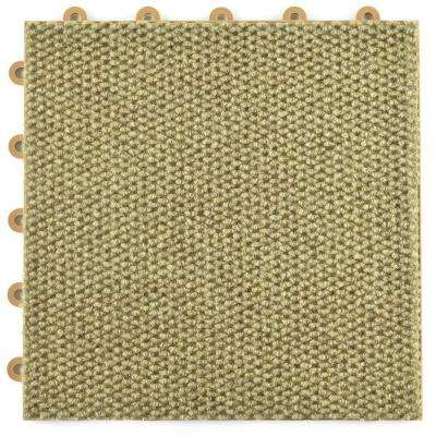 ClickBase Tan Hobnail 12.125 in. x 12.125 in. x 9/16 in. Raised Snap Together Carpet Tiles (20 Tiles/Case)