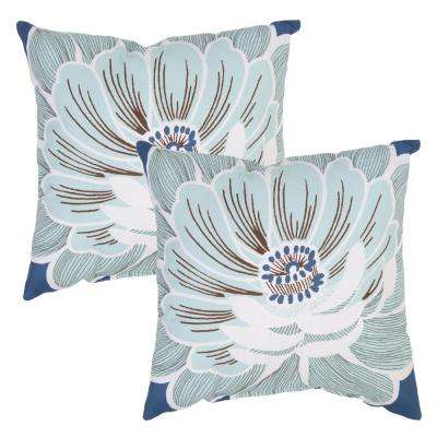 Charleston Flower Square Outdoor Throw Pillow (2-Pack)