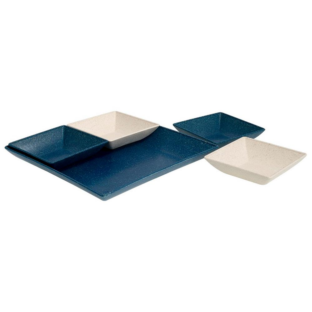 EVO Sustainable Goods Blue Eco-Friendly Wood-Plastic Composite Serving &