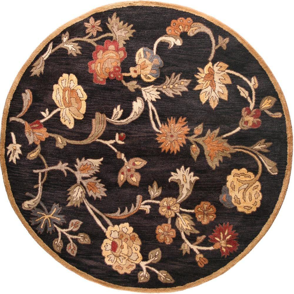 BASHIAN Wilshire Collection Floral Shower Black 8 ft. Round Area Rug
