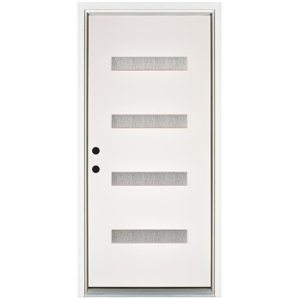 MP Doors 36 in. x 80 in. Water Wave Smooth White Right-Hand Inswing 4 Lite Rain Fiberglass Prehung Front Door