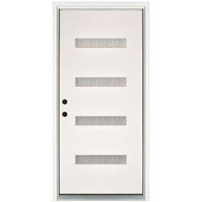 36 in. x 80 in. Water Wave Smooth White Right-Hand Inswing 4 Lite Rain Fiberglass Prehung Front Door