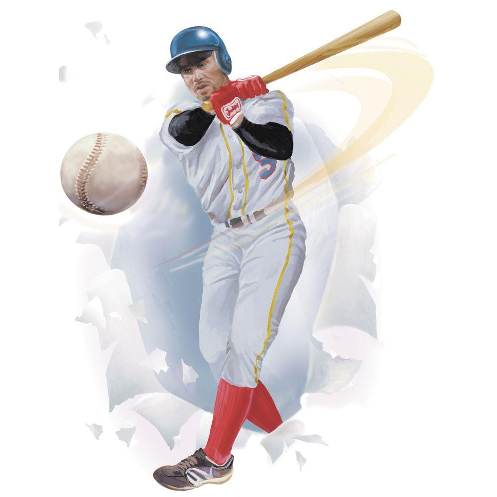 The Wallpaper Company 27 in. x 18.5 in. Completely Kids Baseball Player Breakout Wall Applique-DISCONTINUED