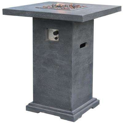Montreal 34 in. x 34 in. Square Concrete Liquid Propane Fire Pit in Gray with Canvas Cover and Lava Rock