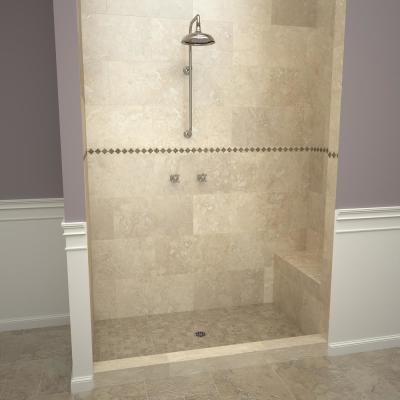 Base'N Bench 42 in. x 60 in. Alcove Shower Base and Bench Kit with Center Drain and Polished Chrome Drain Plate