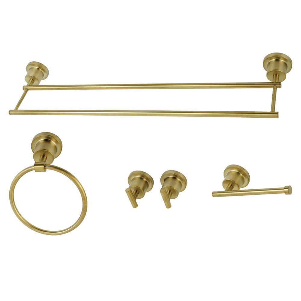 Modern 5-Piece Bath Hardware Set in Brushed Brass