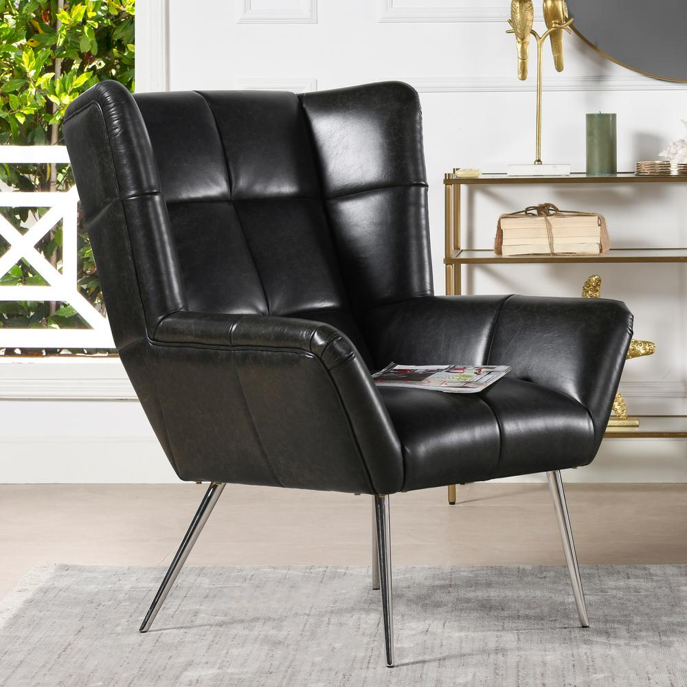 Jennifer Taylor Gerald Mid Century Modern Tufted Wingback Armchair Vintage Black Brown Faux Leather 60290 Mfb The Home Depot
