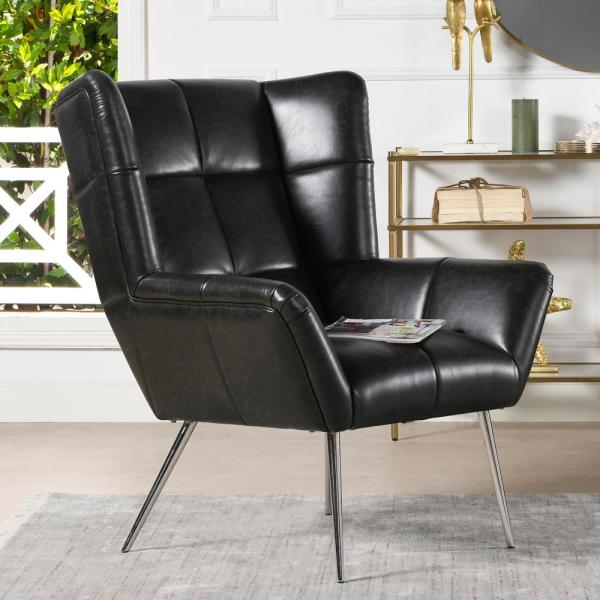 Gerald Mid-Century Modern Tufted Wingback Armchair, Vintage Black Brown Faux Leather