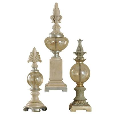 Decorative Finials Sculptures Decorative Accessories Canton with Plated Glass 3-Piece Set