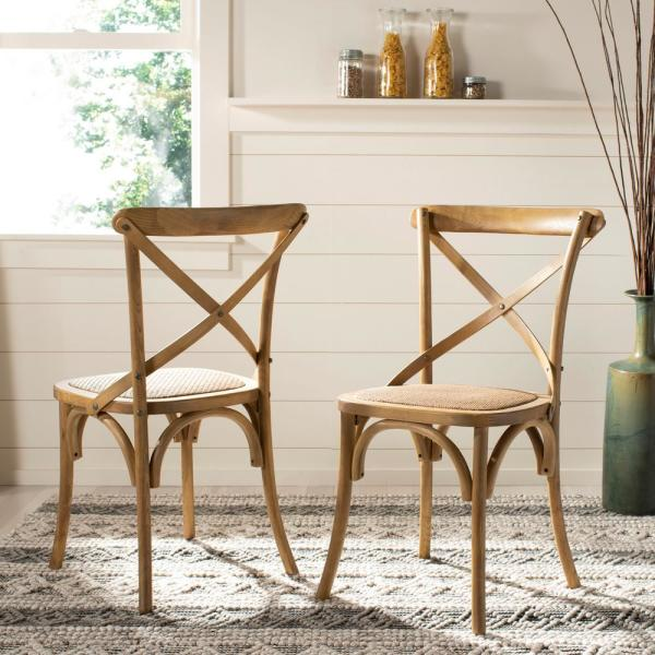 Safavieh Franklin Weathered Oak Rattan X Back Dining Chair Set Of 2